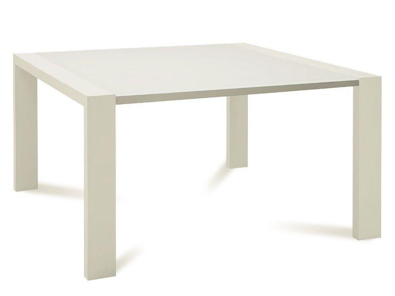 Fashion q tavolo domitalia in legno piano vetro 140x140 for Tavolo quadrato allungabile vetro