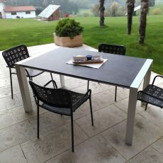 RIG85 - Table made of aluminium, HPL top, different colours available, for garden, 160 x 90 cm extendable