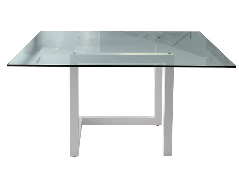 Teorico colico design table steel structure glass top for Table 140x140 design