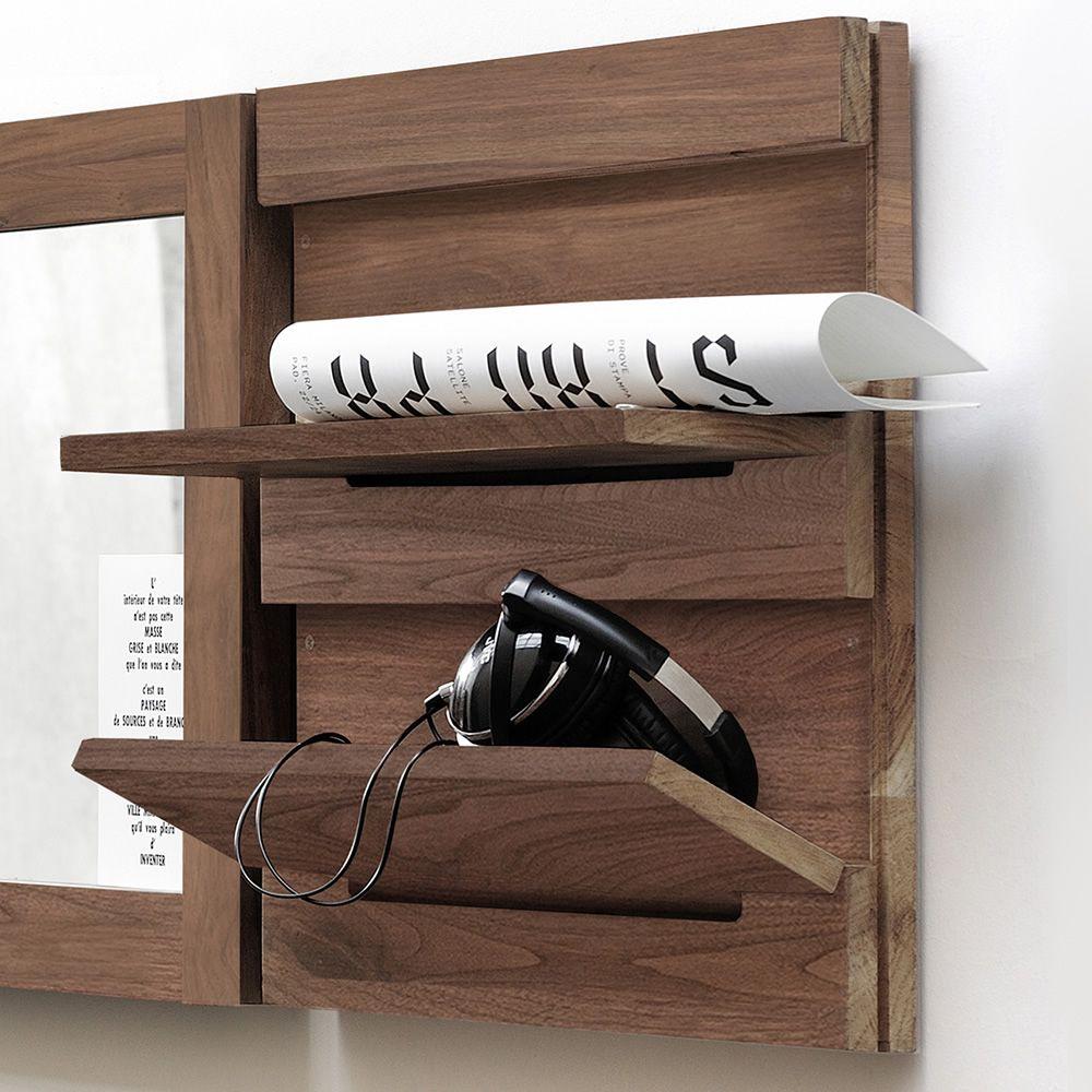 Utilitle s pensile da parete ethnicraft in legno con - Parete di legno ...