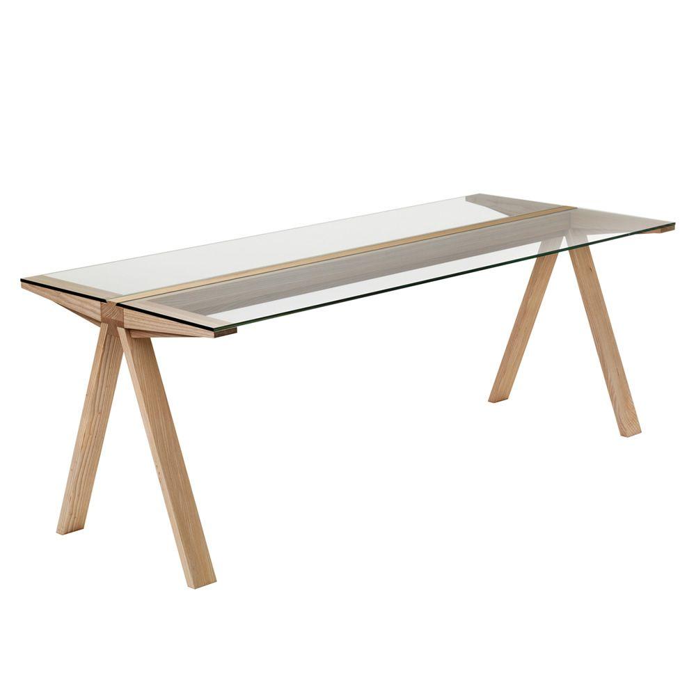 Traverso filo table valsecchi en bois et plateau fixe en for Plateau table bois