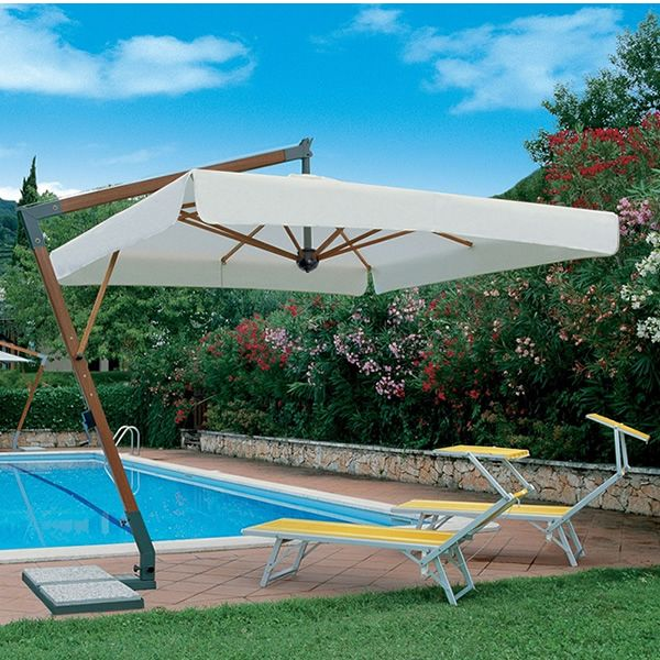 OMB15 - Ombrellone da giardino con braccio laterale, con struttura ...