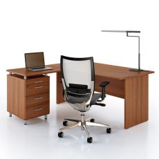 Idea Panel 01 - L-shaped desk for office, with drawers, in laminate, available in different dimensions and finishes