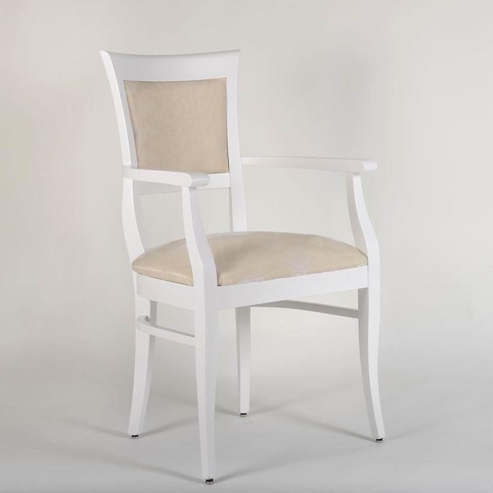 mu43 klassischer stuhl aus holz mit armlehnen mit gepolstertem sitz und r ckenlehne in. Black Bedroom Furniture Sets. Home Design Ideas