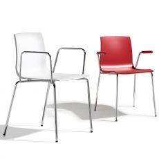 Alice P 2676 - Modern stackable armchair for bars and restaurants, in metal and technopolymer, with open or closed armrests, available in several colours