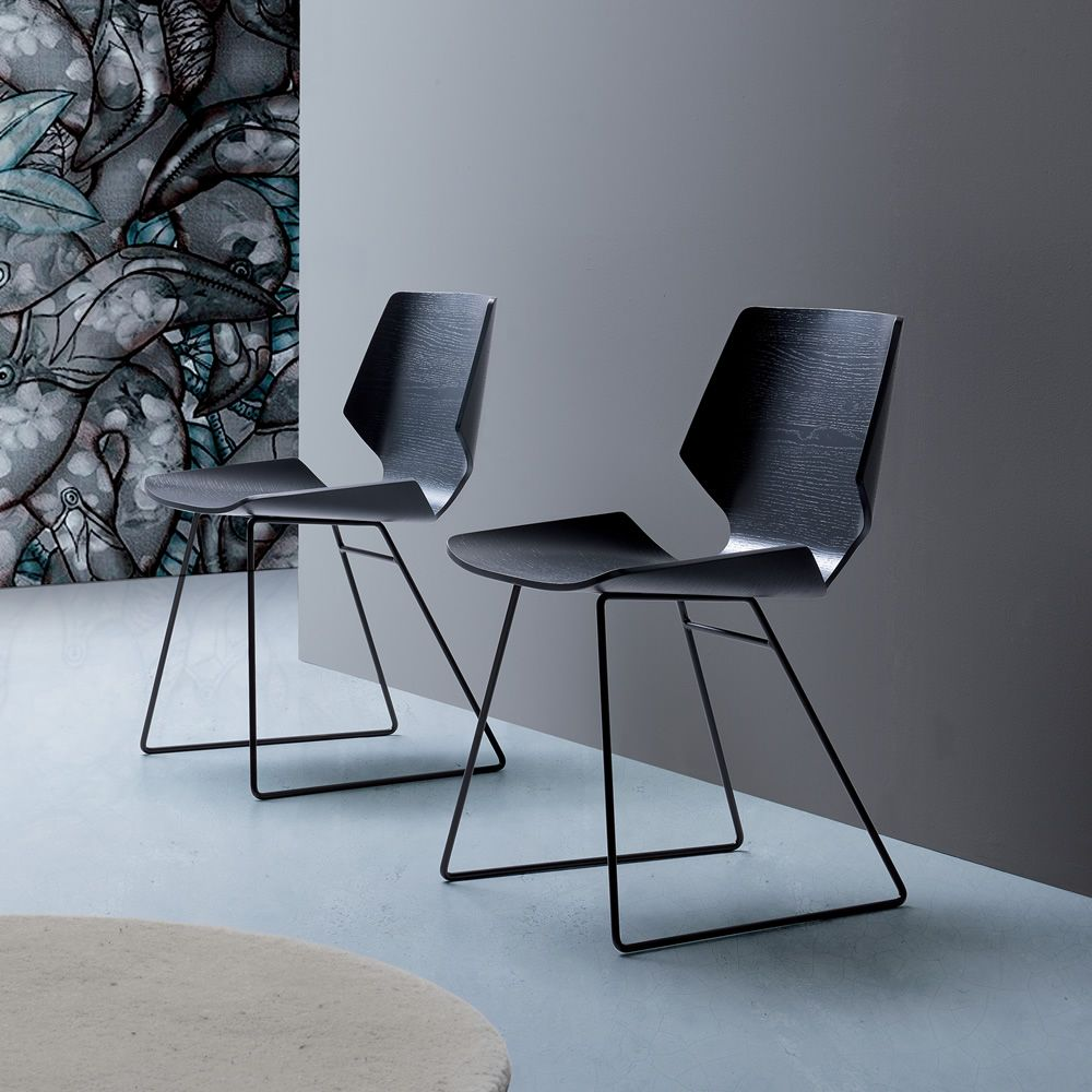 Linz - Sedia moderna in metallo, seduta in legno ...