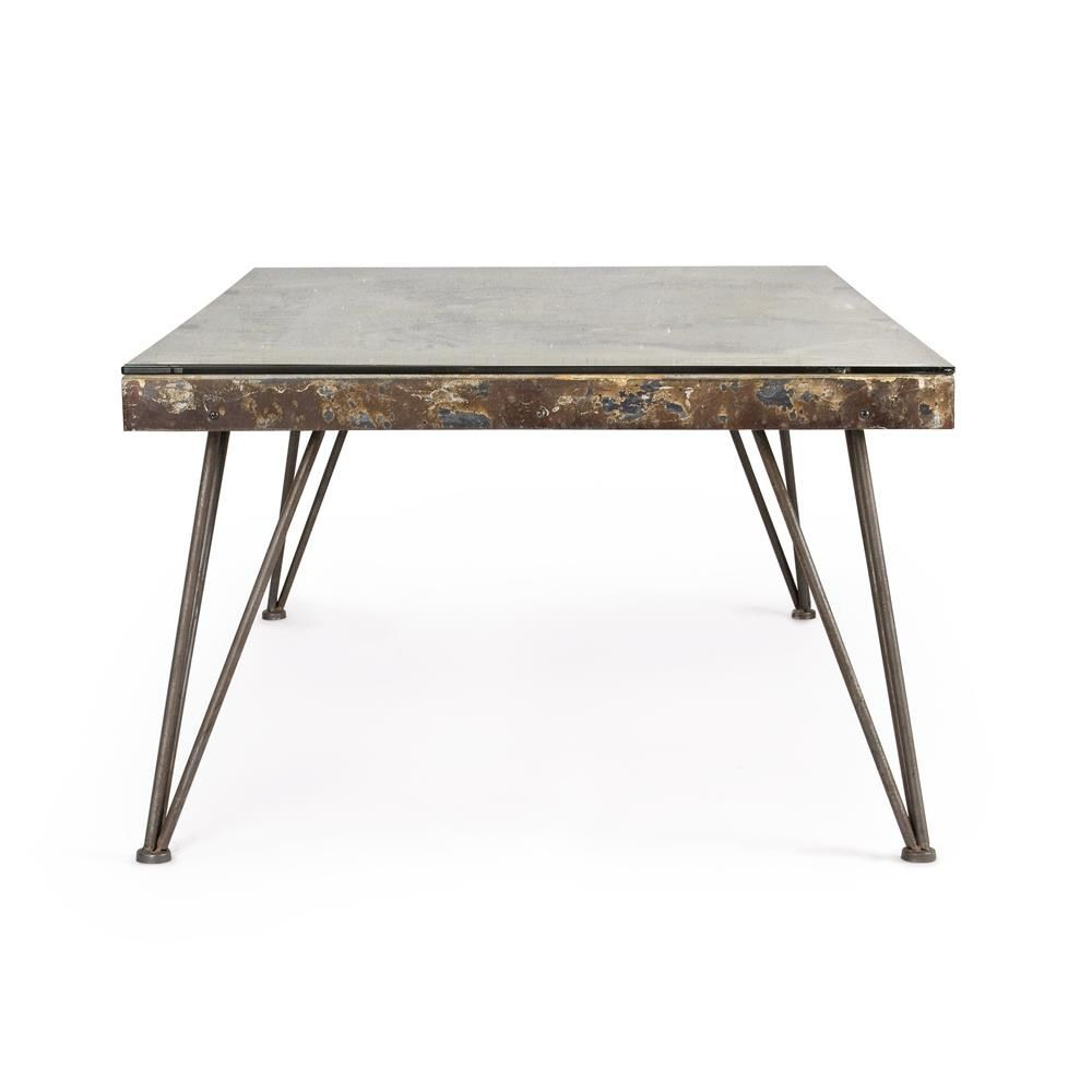 Lagos T Small Urban Style Coffee Table Metal With Top In Mdf With Decorative Concrete And