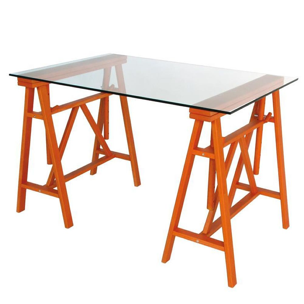 Paride Writing Desk In Solid Beech Wood With Glass Table Top Orange Colour