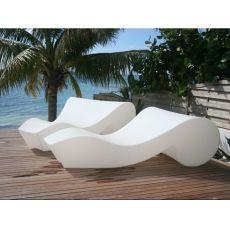 Rococò - Chaise longue avec roulettes Slide, en polyéthylène, en différents couleurs, aussi avec éclairage et pour jardin