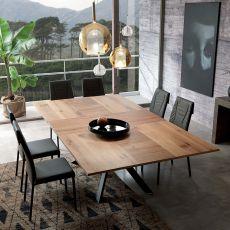 4x4 - Tavolo moderno in metallo, piano in legno 200x100 cm, allungabile, disponibile in diverse finiture