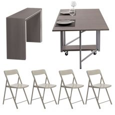 Archimede Zeta set - Console set with folding table 170x90 cm and 6 chairs, available in several colours