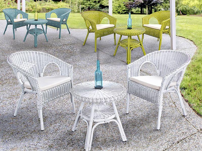 Lario fauteuil en rotin avec coussin diff rentes for Casa fauteuil jardin