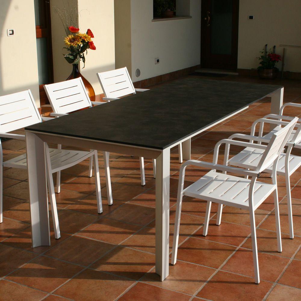 Rig84 tavolo in alluminio piano in hpl 159 x 90 cm for Tavolo in alluminio