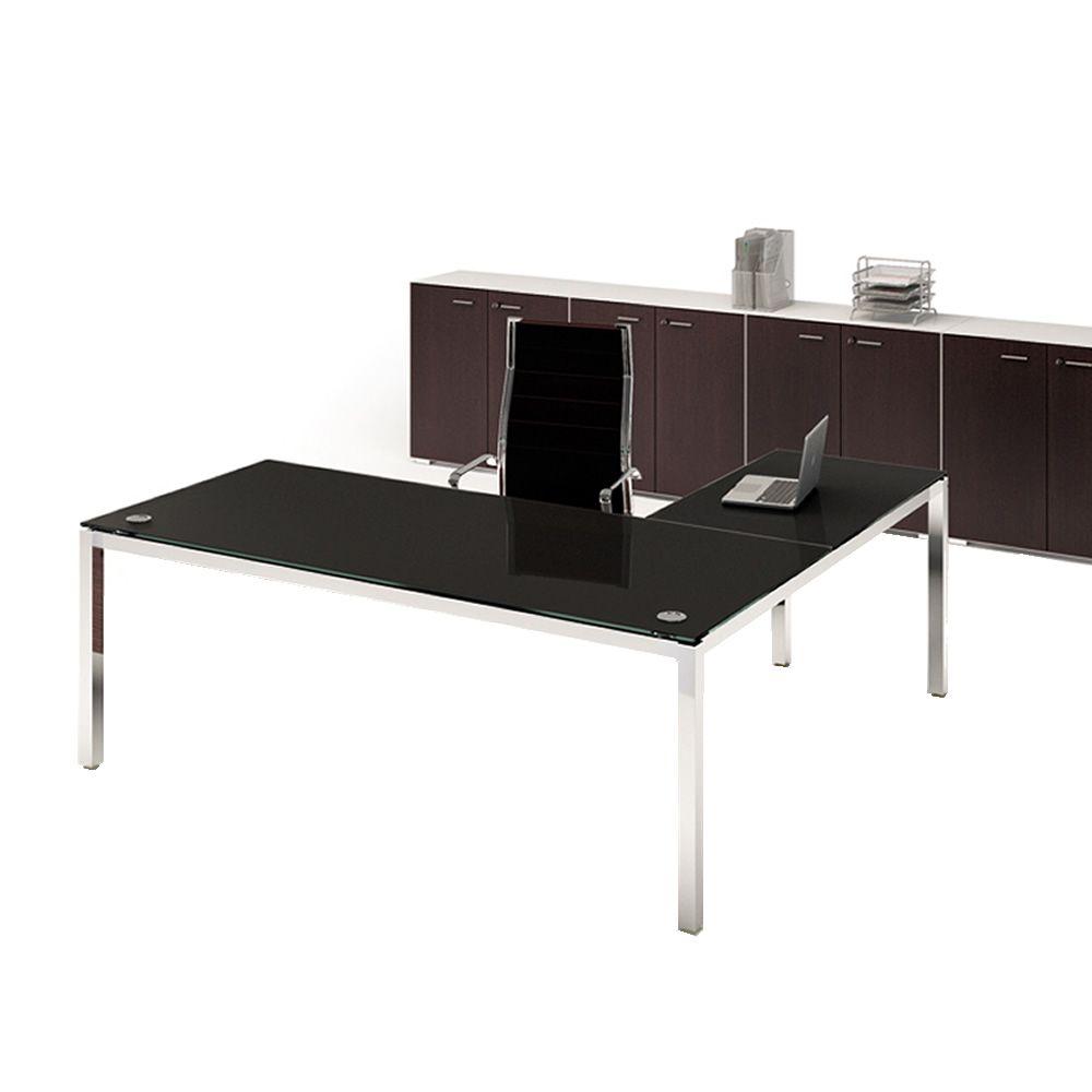 Office x4 02v scrivania da ufficio con penisola struttura in metallo e piano in vetro - Scrivania ufficio vetro ...