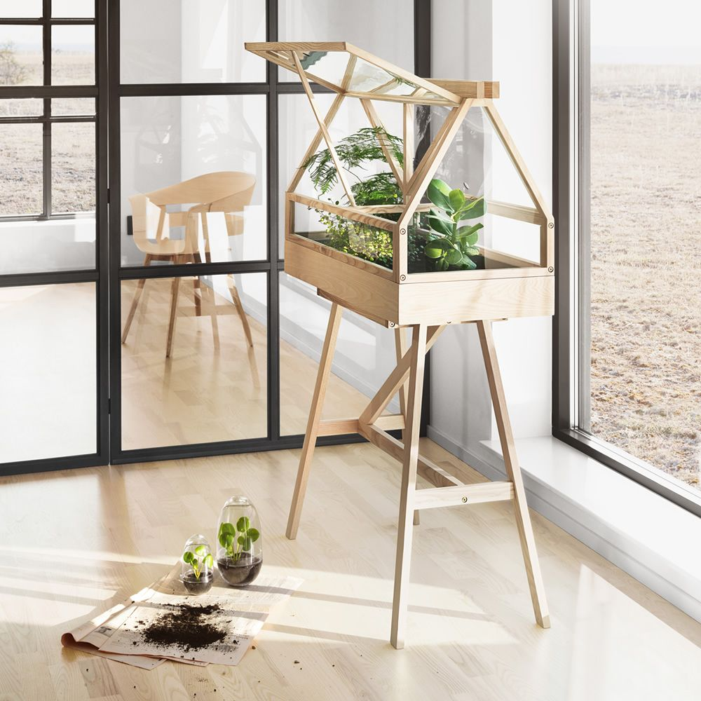 greenhouse mini serre d 39 int rieur en bois de fr ne teint naturel ou laqu gris fonc sediarreda. Black Bedroom Furniture Sets. Home Design Ideas