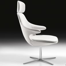 Loop Lounge - Infiniti swivel metal armchair with fabric, leather or imitation leather upholstery, different colours, with headrest