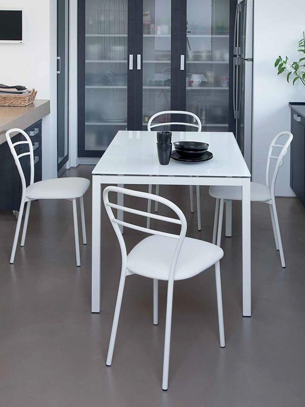 Full - Tavolo Domitalia in metallo, piano vetro o melaminico, 120 x ...