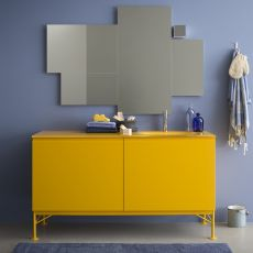 Memento C - Sink cabinet with crystal top, 2 deep drawers, available in several colours
