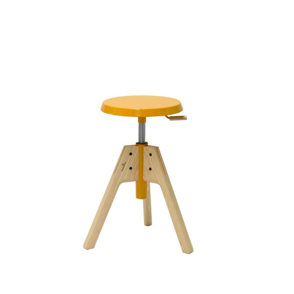 pico valsecchi swivel and adjustable stool made of wood  -  different pico  swivel and adjustable stool made of natural ash woodwith yellow lacquered mdf seat