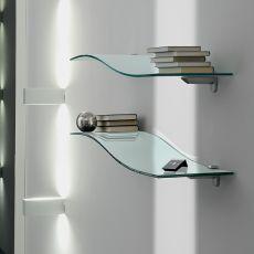 5026 - Mensola Tonin Casa in vetro curvato, diversi colori disponibili