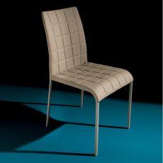 Atlanta 44.48 - Chaise rembourrée, en métal ave assise en simili cuir, disponible en différentes couleurs