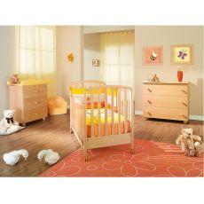 Ciak - Cuna Pali de madera con cajón, somier con duelas con altura regulable, disponible en varios colores