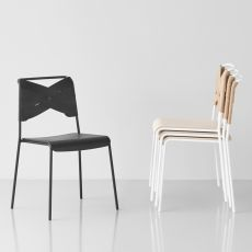 Torso - Stackable chair made of metal, seat in veneered wood and backrest with leather covering, different colours available