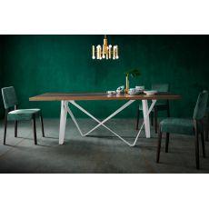 Apollodoro - Tavolo di design, fisso 100x200 cm, con struttura in metallo, piano in diversi materiali e finiture