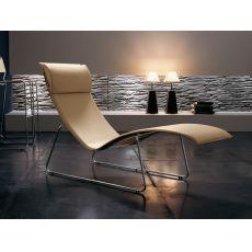 Relax - Chaise longue Midj in metallo e cuoio, diversi colori disponibili