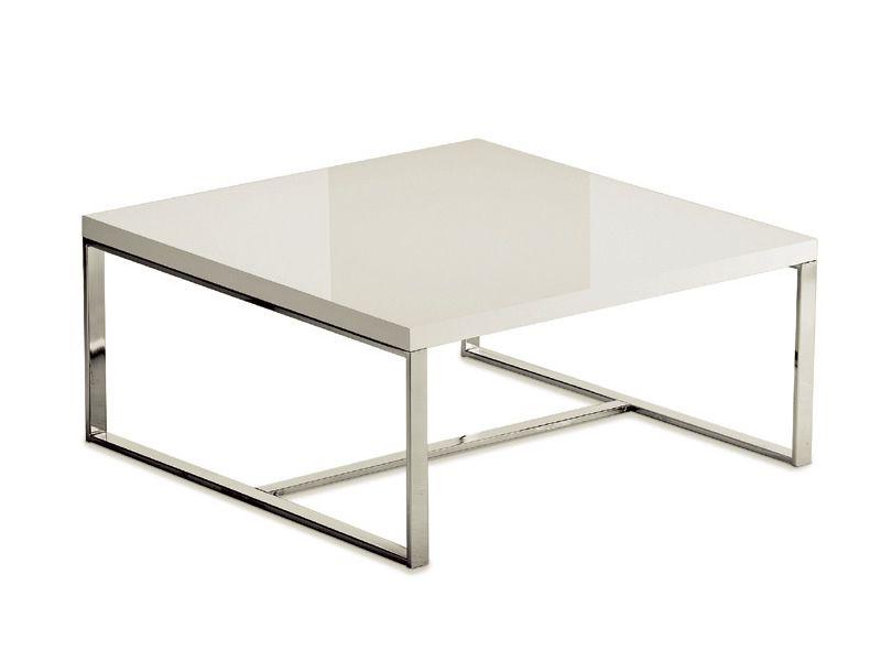 Sushi l table basse carr e domitalia en m tal plateau en mdf en marbre ou en c ramique for Table basse carree metal
