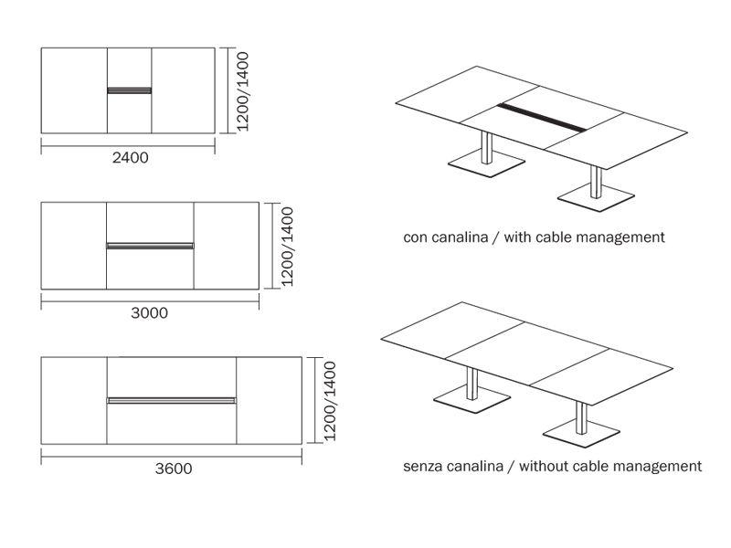 Plano tavolo pedrali da riunione in metallo con piano - Dimensioni tavolo ...