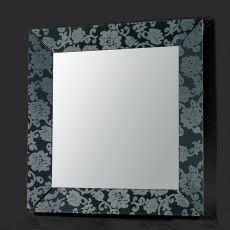 Frame Q - Specchio quadrato Colico Design 90x90 cm in metacrilato, con incisione al laser motivo damascato