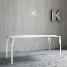 Charme - Tavolo di design in metallo, fisso, rettangolare, disponibile in diverse dimensioni e colori