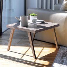David - Tavolino di desing Bontempi Casa, con struttura legno, piano in legno o vetro, diversi colori e finiture disponibili