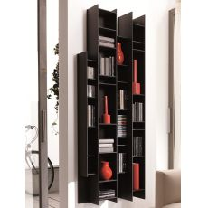 Byblos - Modular wall bookcase in wood, available in several colours
