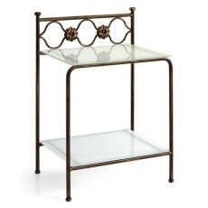 Incanto D - Iron bedside table with glass tops, available in several colours