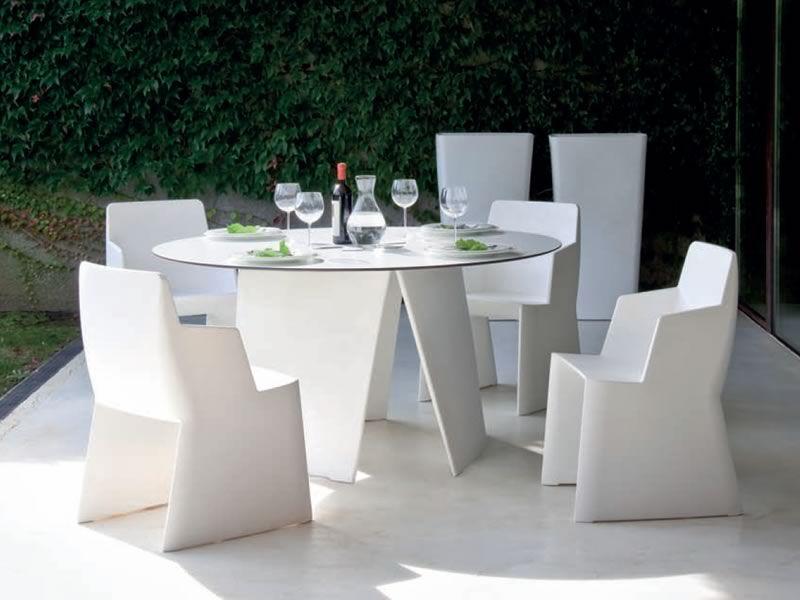 Stone t tavolo tondo da giardino domitalia in polietilene e laminato bianco diametro 160 cm - Tavolo tondo bianco ...