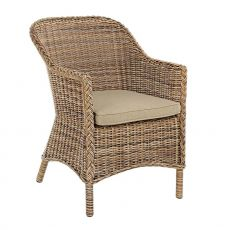 Antigua P - Armchair in synthetic rattan, cushion with removable lining