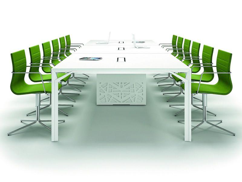 Tavolo Riunione Piano Vetro Executive : Office meet large tavolo per sala riunioni in metallo