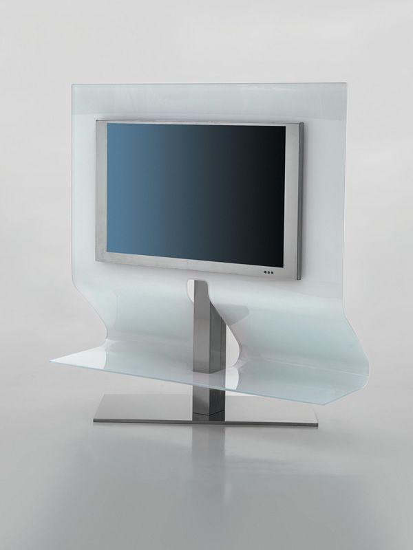 7098 Odeon - Porta TV in vetro curvato e acciaio inox di Tonin Casa ...