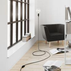 Cord - Lámpara de pie de design, cable en acero tapizado de tejido