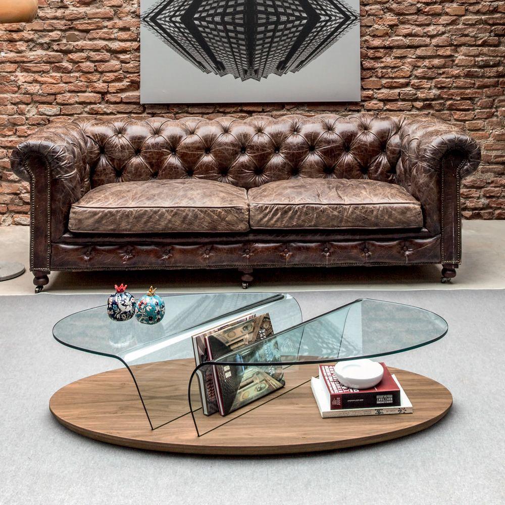 Arona 6212 Coffee Table Made Of Cana Walnut Glass Top With Rack