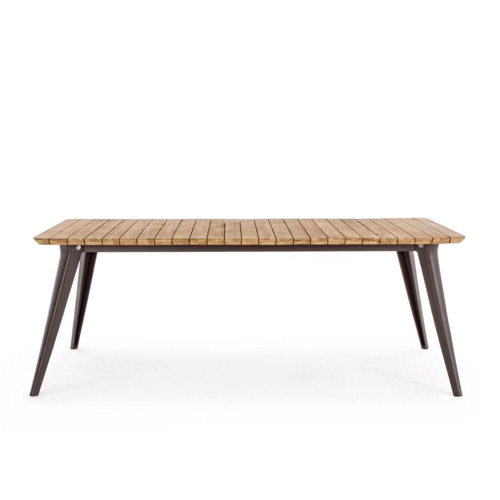 Oka T2 Aluminum table, 200×100 cm teak top, also for outdoor