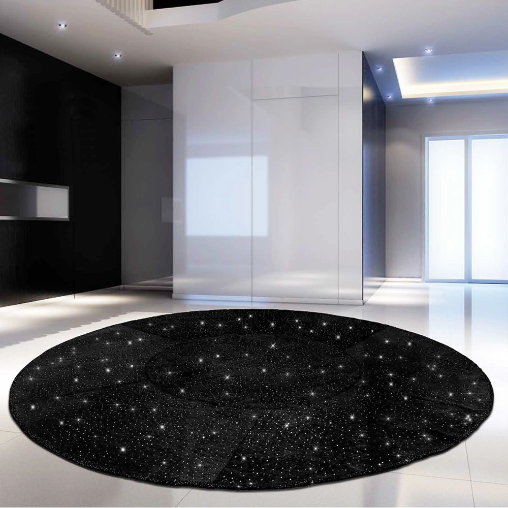 giotto diamond tapis rond design en chanvre avec cristaux sediarreda. Black Bedroom Furniture Sets. Home Design Ideas