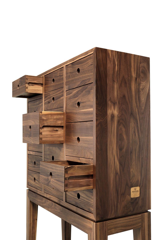 Contador credenza con cassetti in legno massello - Mobiletti in legno ...