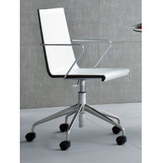 Snake Office - Office chair, swivel and adjustable in height, in metal, with seat in technopolymer or coverd in bonded leather, available in different colours