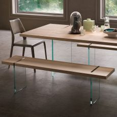 Agazia P - Design bench, with glass legs, seat in different materials and finishes