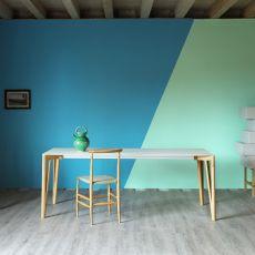 Decapo B - Tavolo Miniforms in legno, piano in vetro, diverse dimensioni disponibili