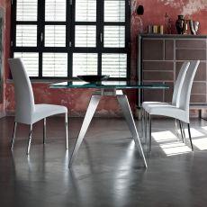 Ramos Ext - Table design de Bontempi Casa, 200 x 106 cm à rallonges, avec structure en métal et un plateau en verre, disponible en différentes couleurs.