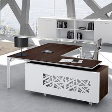 Office X8 02 - Executive desk with peninsula and chest of drowers, in metal and laminate, available in different dimensions